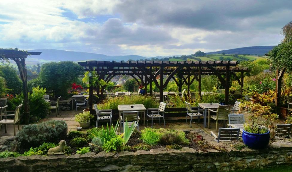 Garden view of The Castle Hotel in Shropshire