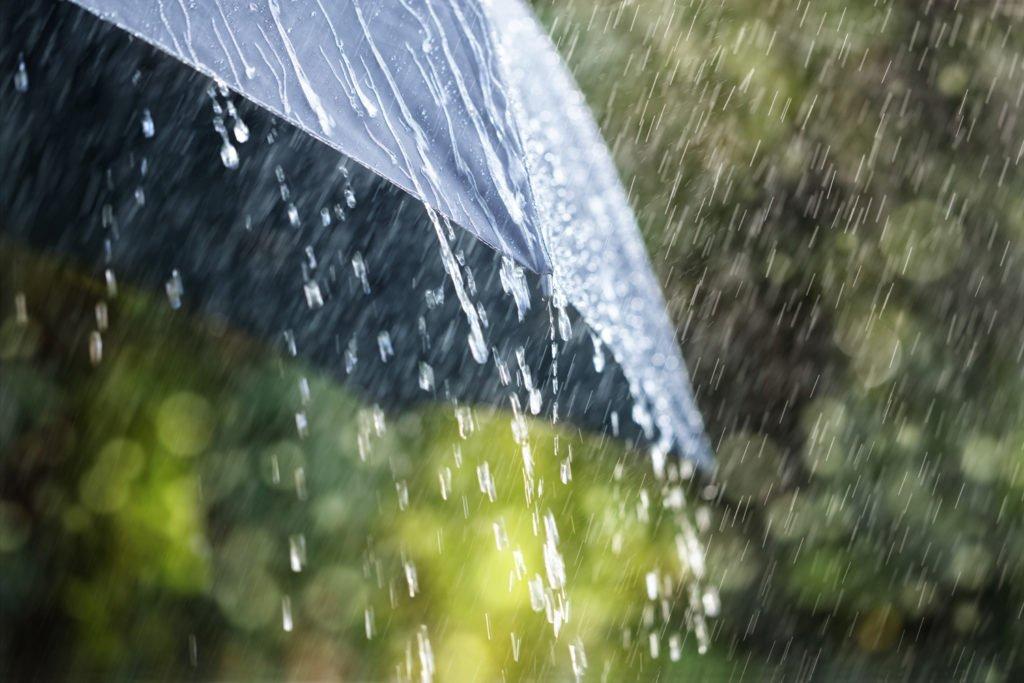 Rain running off an umbrella