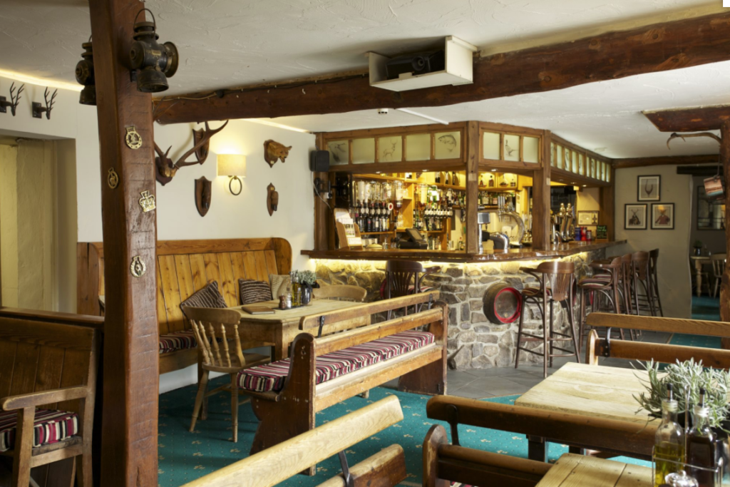 The bar at The Exmoor White Horse Inn in West Somerset