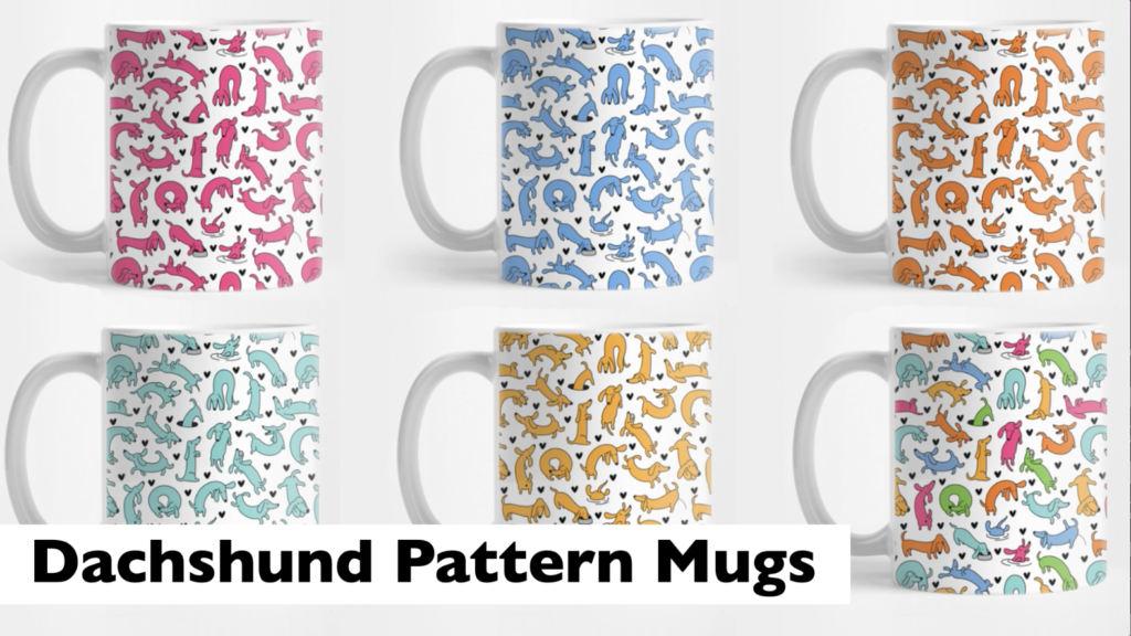 Dachshund pattern mugs in a selection of colours